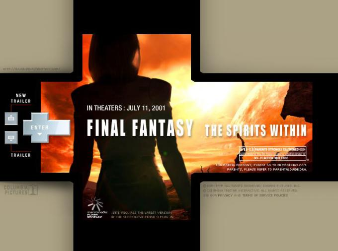 Final Fantasy: The Spirits Within official website back in 2001