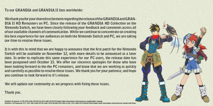 Grandia HD Collection announcement