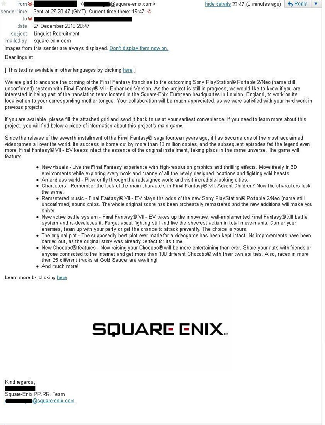 Fake mail from Square Enix